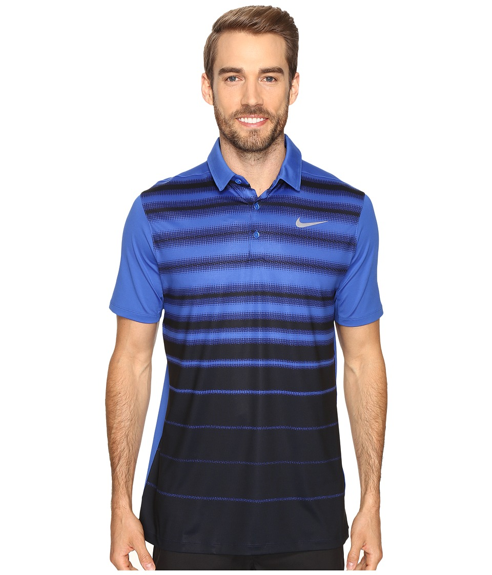 Nike - Mobility Fade Stripe Polo (Game Royal/Game Royal/Flat Silver) Men's Short Sleeve Pullover