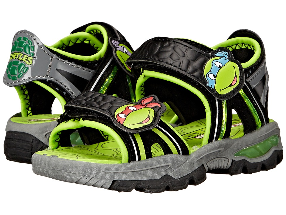 Josmo Kids - Ninja Turtle Lighted Sandal (Toddler/Little Kid) (Black/Green) Boys Shoes