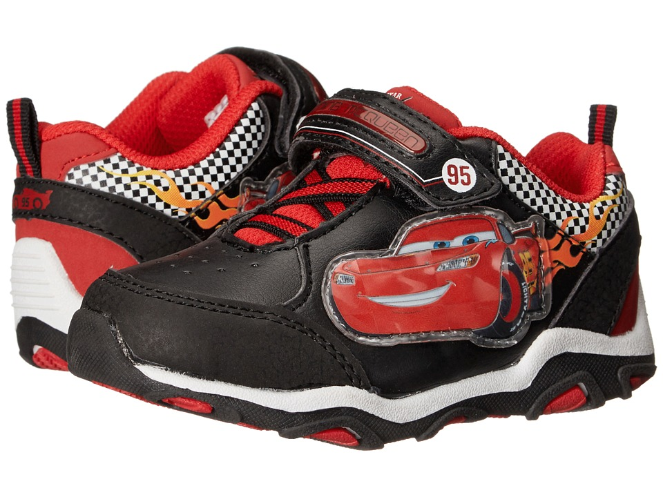 Josmo Kids - Cars Lighted Strap Sneaker (Toddler/Little Kid) (Black/Red) Boys Shoes