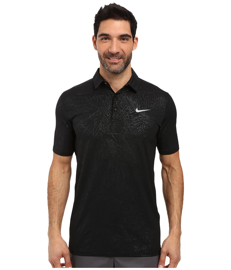 Nike Golf - Mobility Emboss Polo (Black/Flat Silver) Men's Short Sleeve Pullover