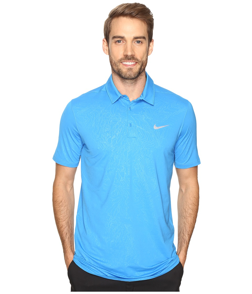 Nike - Mobility Emboss Polo (Light Photo Blue/Flat Silver) Men's Short Sleeve Pullover
