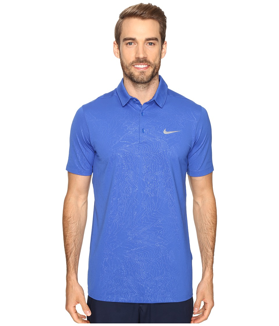 Nike Golf - Mobility Emboss Polo (Game Royal/Flat Silver) Men's Short Sleeve Pullover