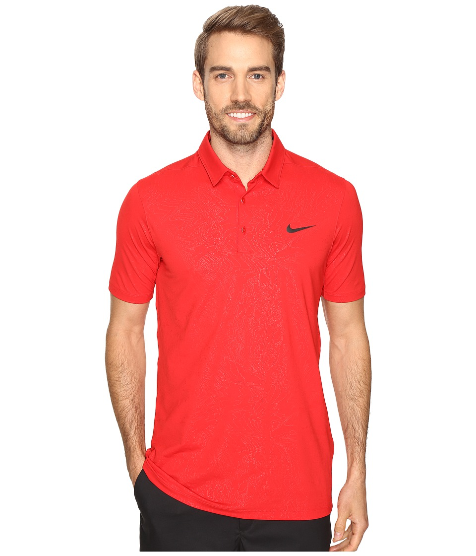 Nike - Mobility Emboss Polo (University Red/Flat Silver) Men's Short Sleeve Pullover