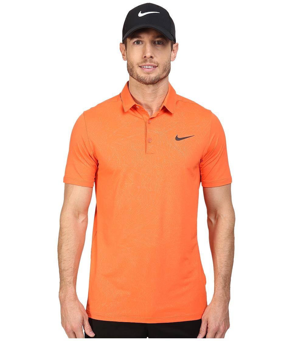 Nike - Mobility Emboss Polo (Turf Orange/Anthracite) Men's Short Sleeve Pullover