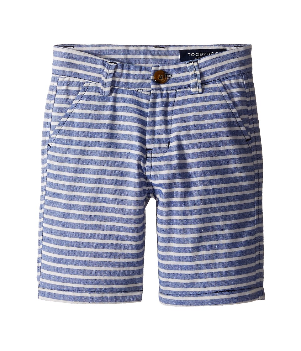 Toobydoo - Woven Cotton Shorts (Toddler/Little Kids/Big Kids) (Blue/White Stripes) Boy's Shorts
