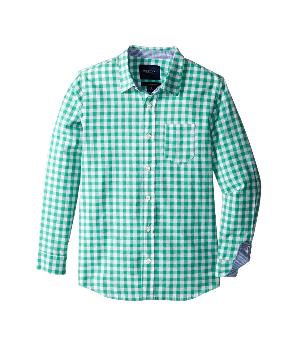Toobydoo - Long Sleeve Dress Shirt (Toddler/Little Kids/Big Kids) (Green/White Checks) Boy's Long Sleeve Button Up