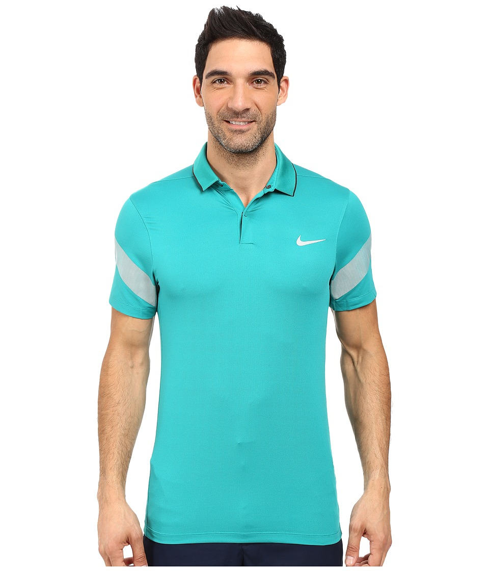 Nike Golf - Momentum Framing Commander (Teal Charge/Anthracite/Reflective Silver) Men's Short Sleeve Pullover