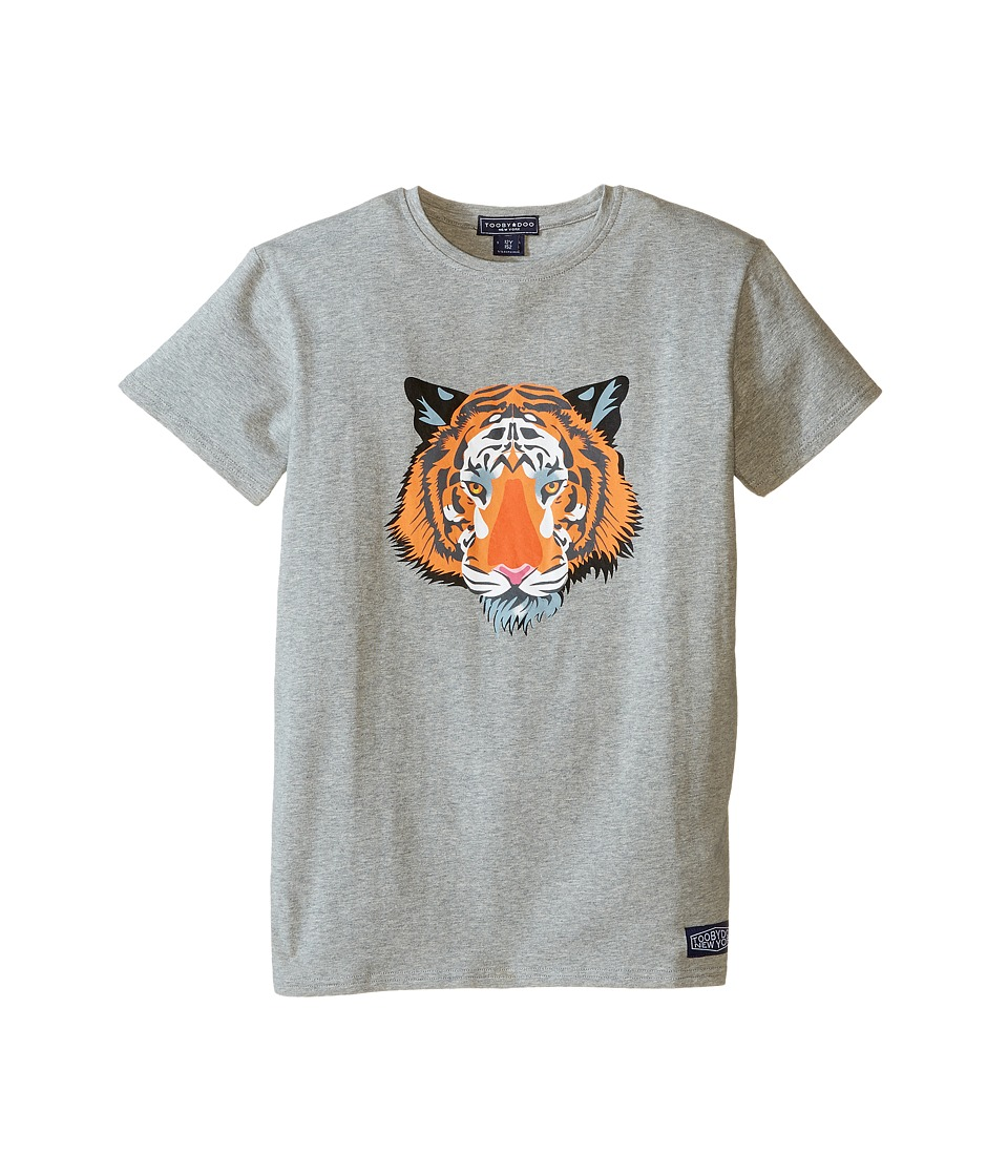 Toobydoo - Short Sleeve Graphic T-Shirt (Infant/Toddler/Little Kids/Big Kids) (Grey/Tiger Graphic) Boy's T Shirt
