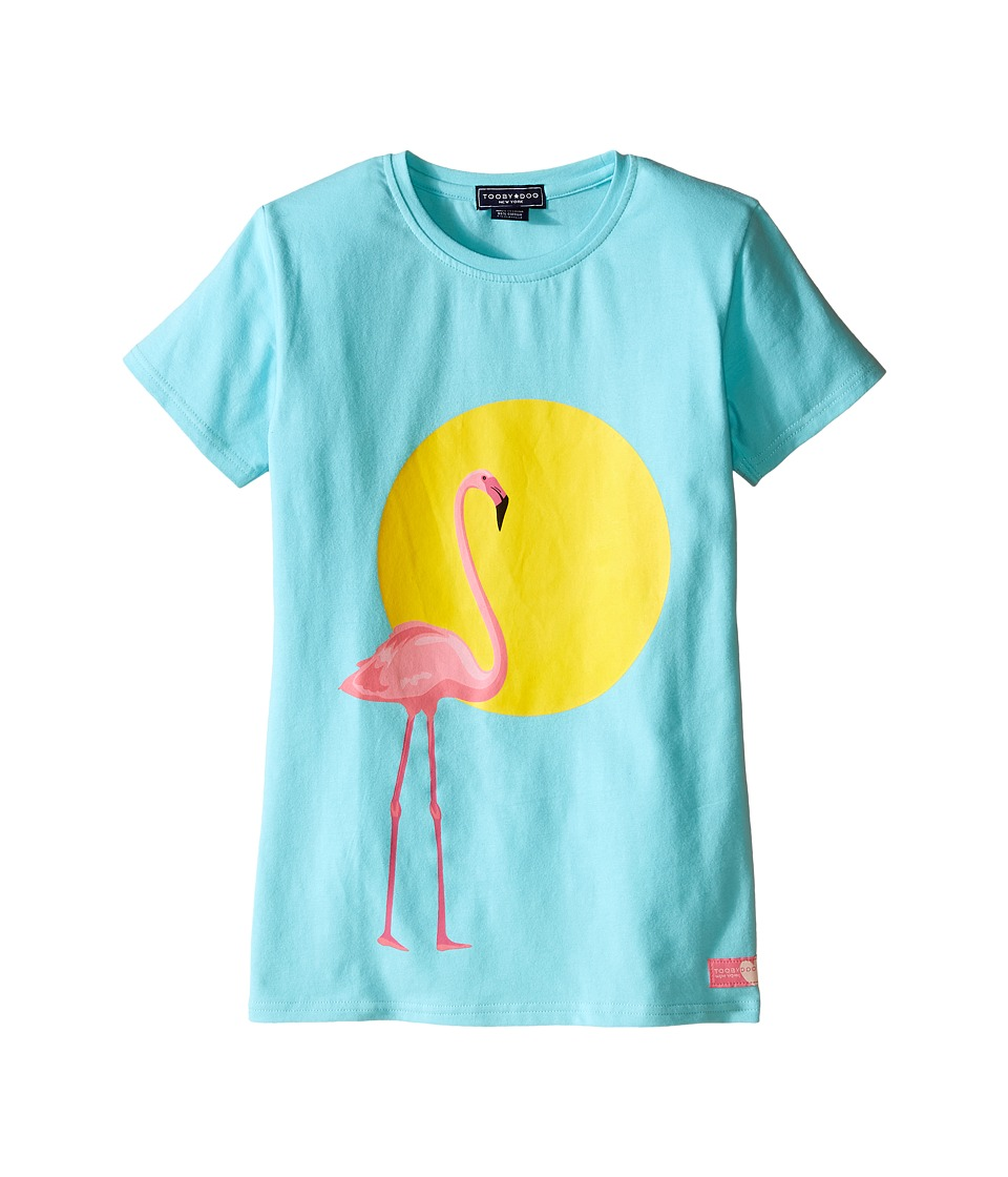Toobydoo - Short Sleeve Graphic Print T-Shirt (Toddler/Little Kids/Big Kids) (Blue/Flamingo Graphic) Girl's T Shirt