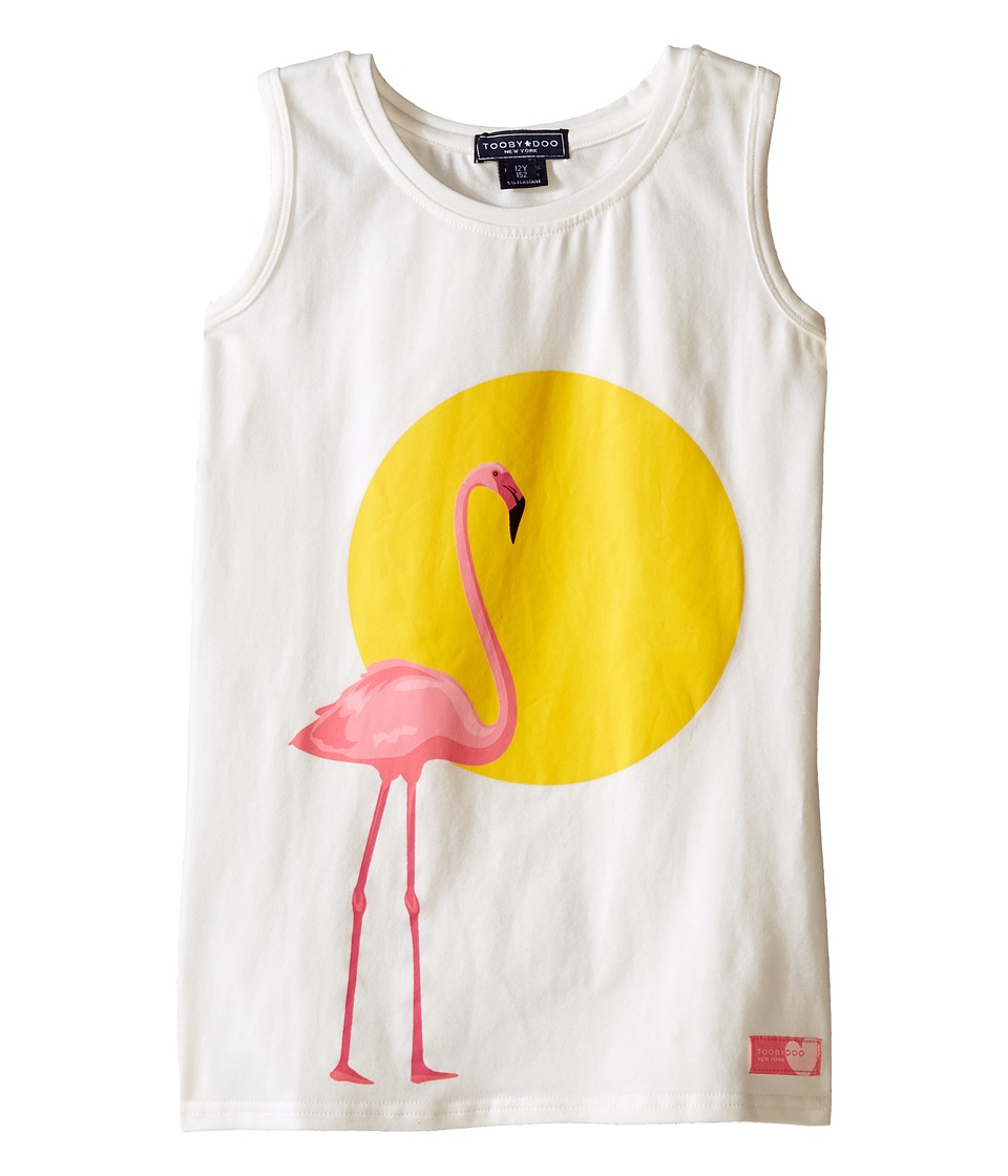Toobydoo - Tank Graphic Print T-Shirt (Toddler/Little Kids/Big Kids) (White/Flamingo Graphic) Girl's Sleeveless