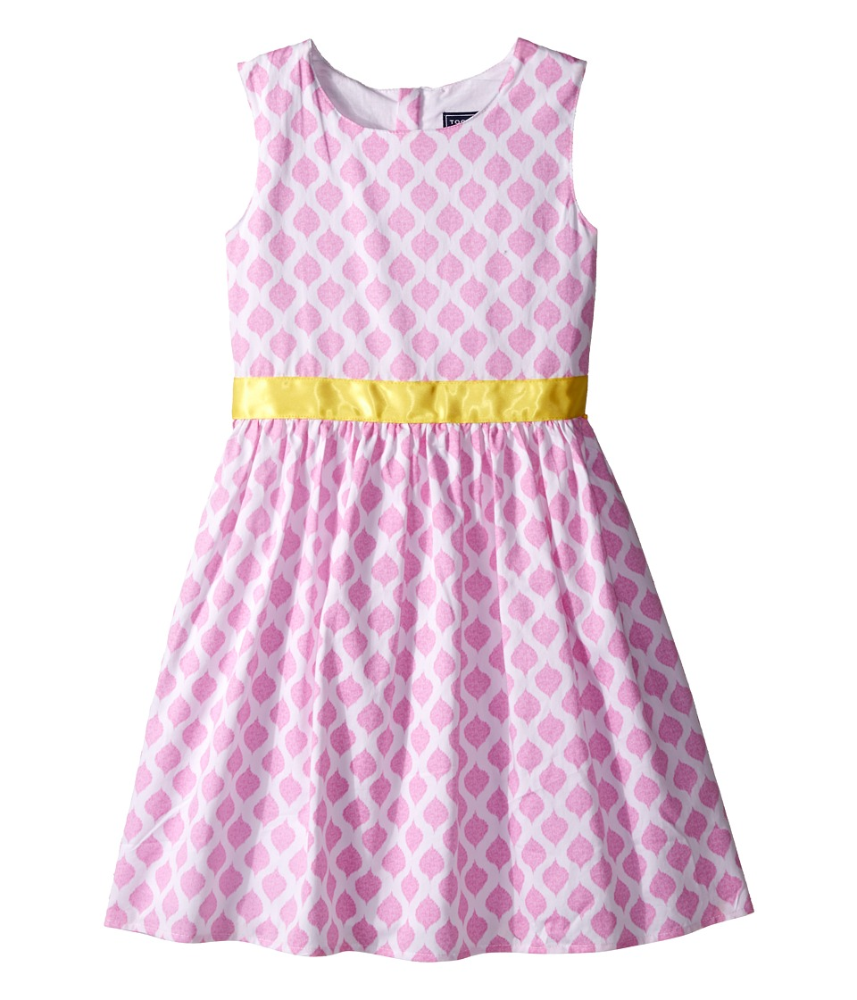 Toobydoo - Garden Party Tank Dress (Infant/Toddler/Little Kids/Big Kids) (Pink/White/Yellow Belt) Girl's Dress
