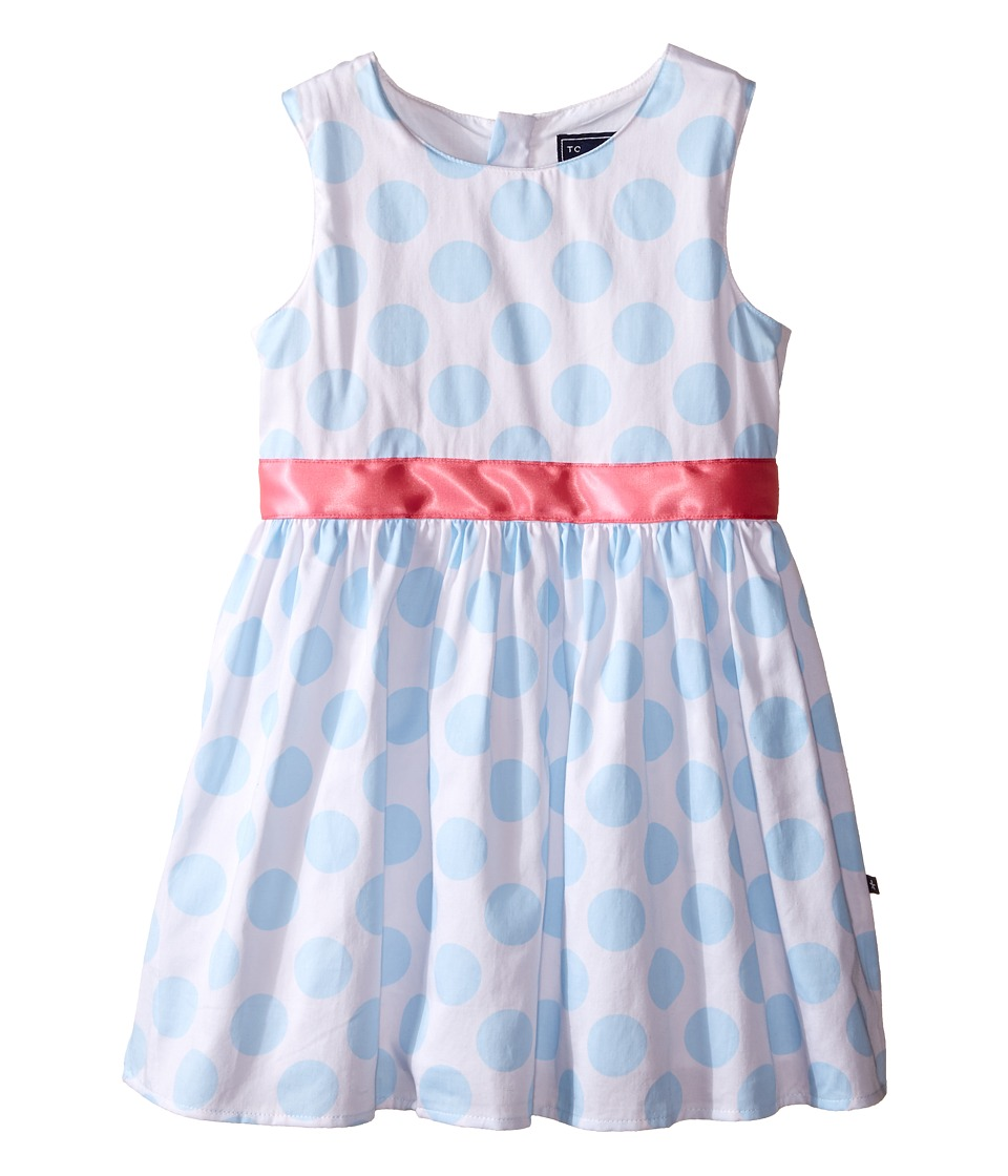 Toobydoo - Garden Party Tank Dress (Toddler/Little Kids/Big Kids) (Light Blue/White/Pink Belt) Girl's Dress