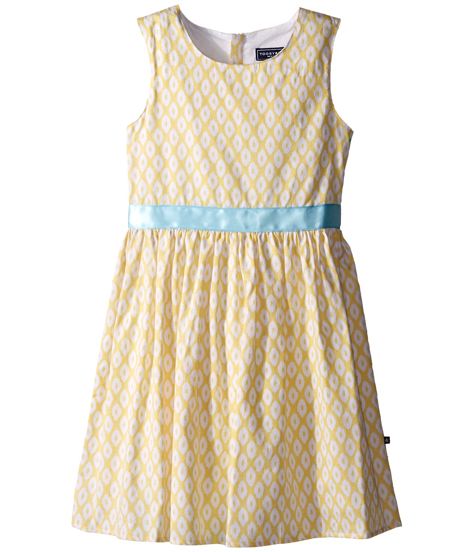 Toobydoo - Garden Party Tank Dress (Infant/Toddler/Little Kids/Big Kids) (Yellow/White/Blue Belt) Girl's Dress