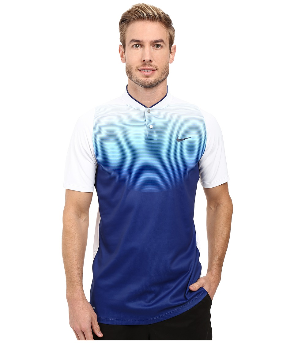 Nike Golf - Tiger Woods Vl Max Sphere Print Polo (White/Deep Royal Blue/Reflect Black) Men's Short Sleeve Pullover