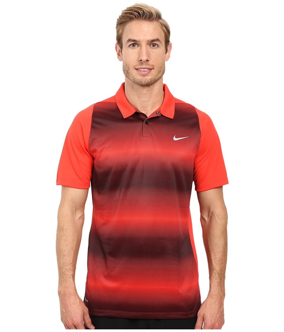 Nike Golf - Tiger Woods Vl Max Sphere Stripe Polo (Light Crimson/Black/Reflective Silver) Men's Short Sleeve Pullover