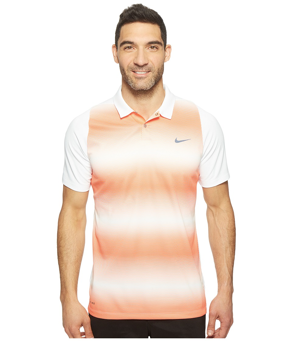 Nike - Tiger Woods Vl Max Sphere Stripe Polo (White/Turf Orange/Reflect Black) Men's Short Sleeve Pullover
