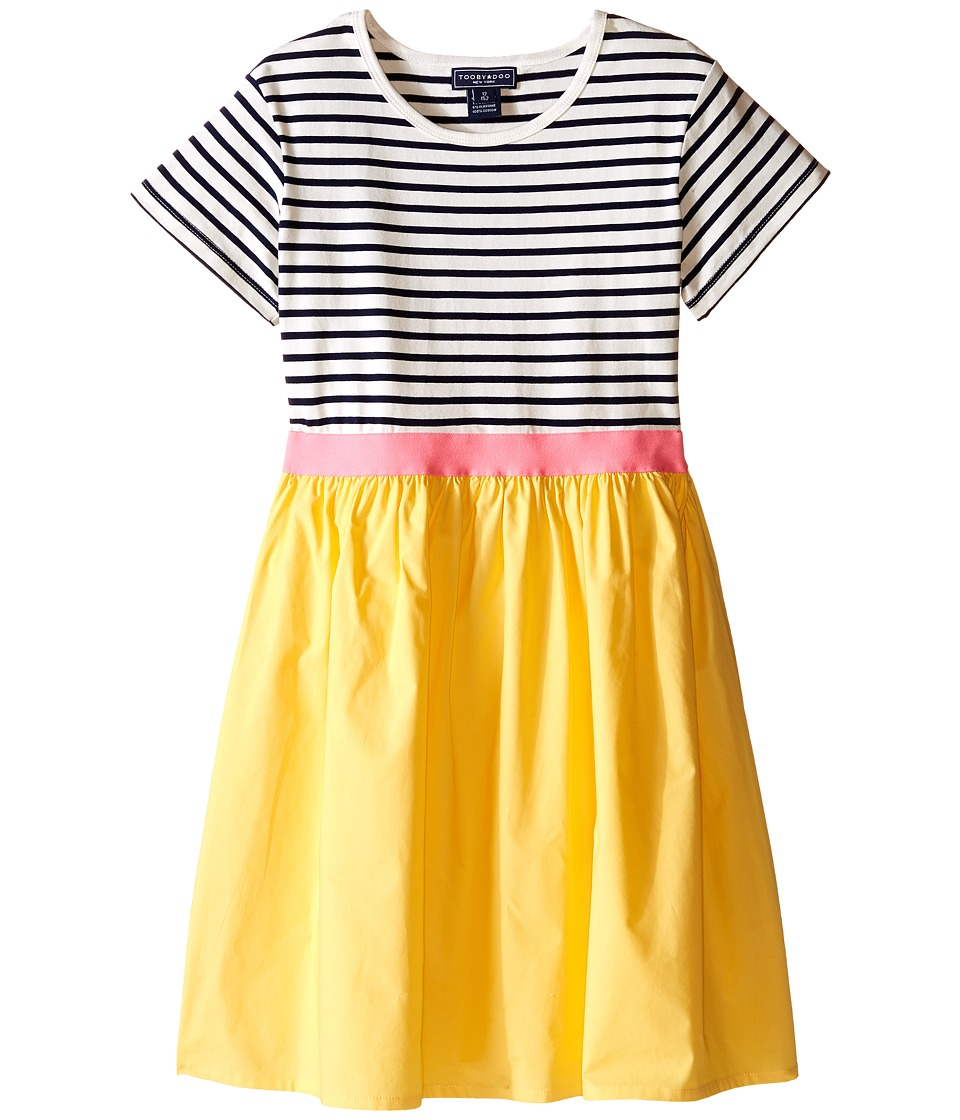 Toobydoo - Short Sleeve Tulle Twirl Dress (Toddler/Little Kids/Big Kids) (Navy/White/Pink/Yellow) Girl's Dress