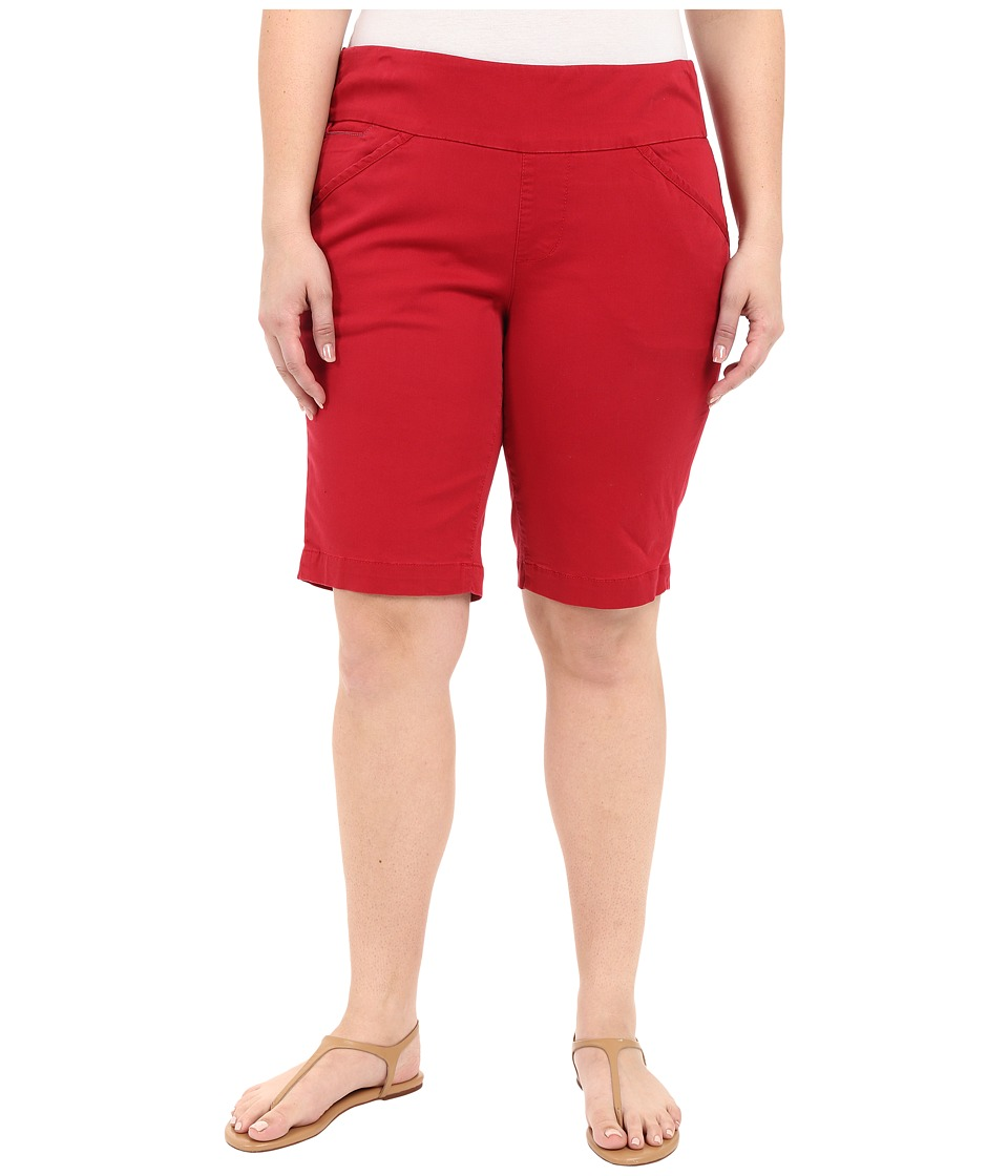Jag Jeans Plus Size - Plus Size Ainsley Classic Fit Bermuda in Bay Twill (Dark Poppy) Women's Shorts plus size,  plus size fashion plus size appare