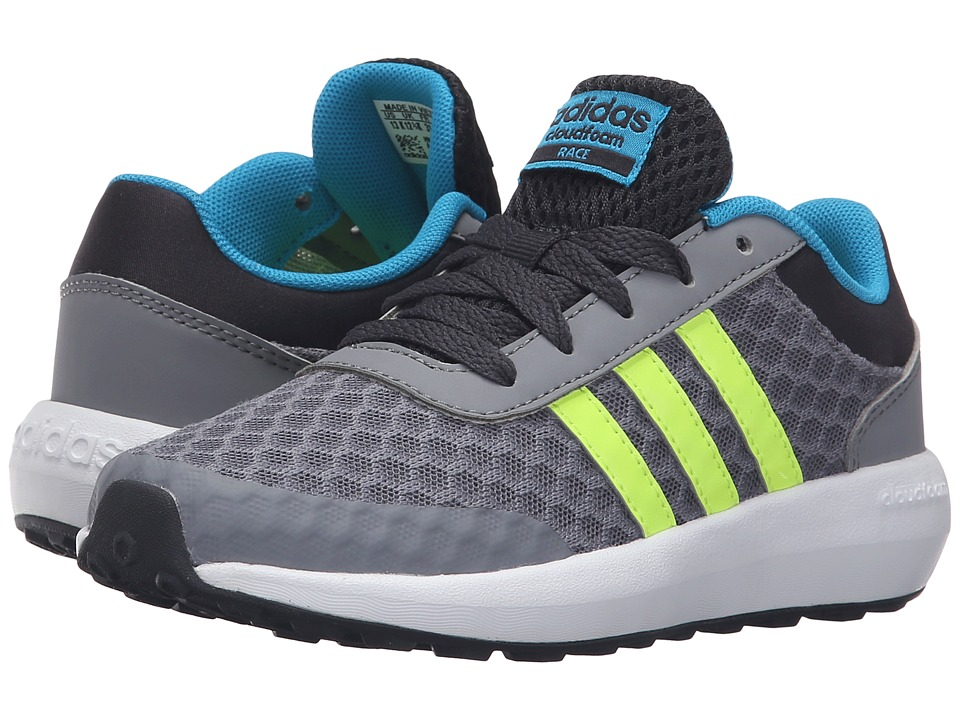 adidas Kids - Cloudfoam Race (Little Kid/Big Kid) (Grey/Solar Yellow/Solar Blue2) Kids Shoes