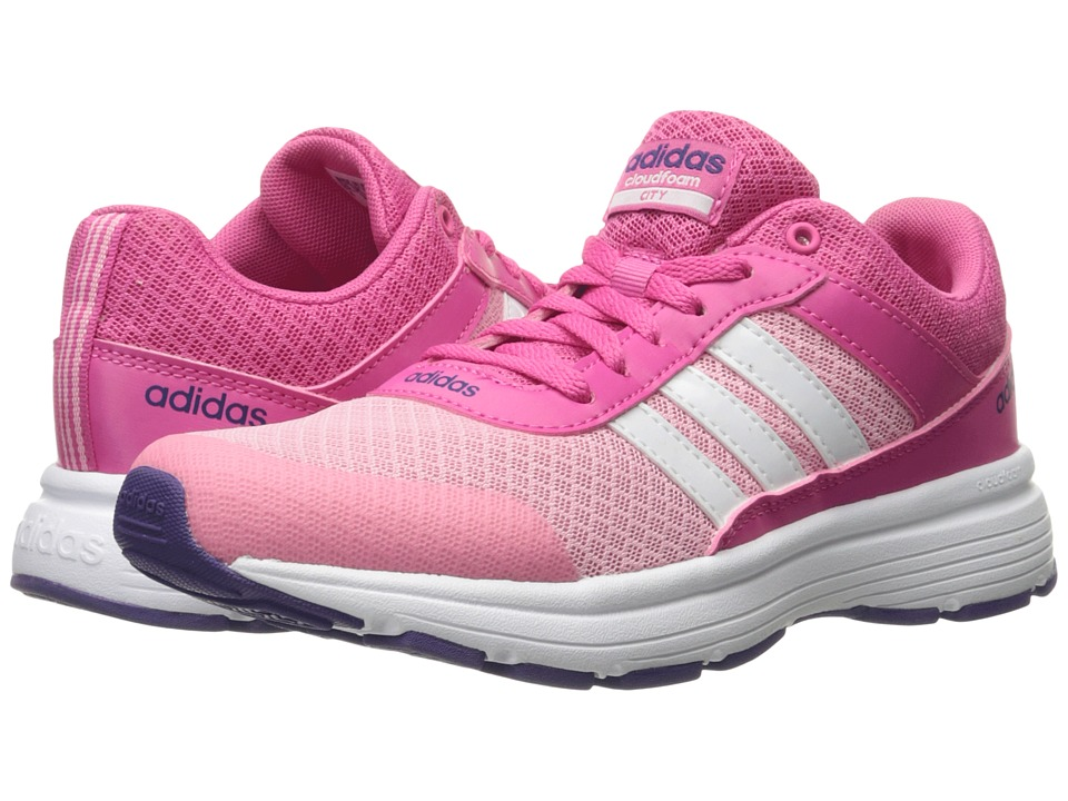 adidas Kids - Cloudfoam VS City (Little Kid/Big Kid) (Pink/White/Collegiate Purple) Kids Shoes