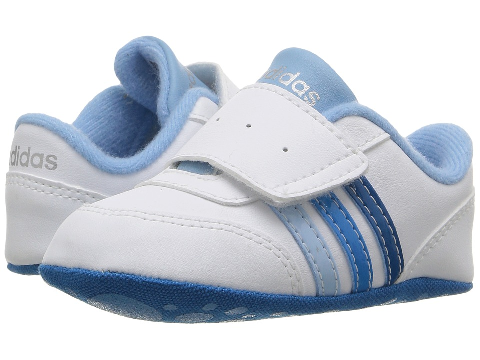 adidas Kids - V Jog Crib (Infant/Toddler) (White/Solar Blue2/Unity Blue) Kids Shoes