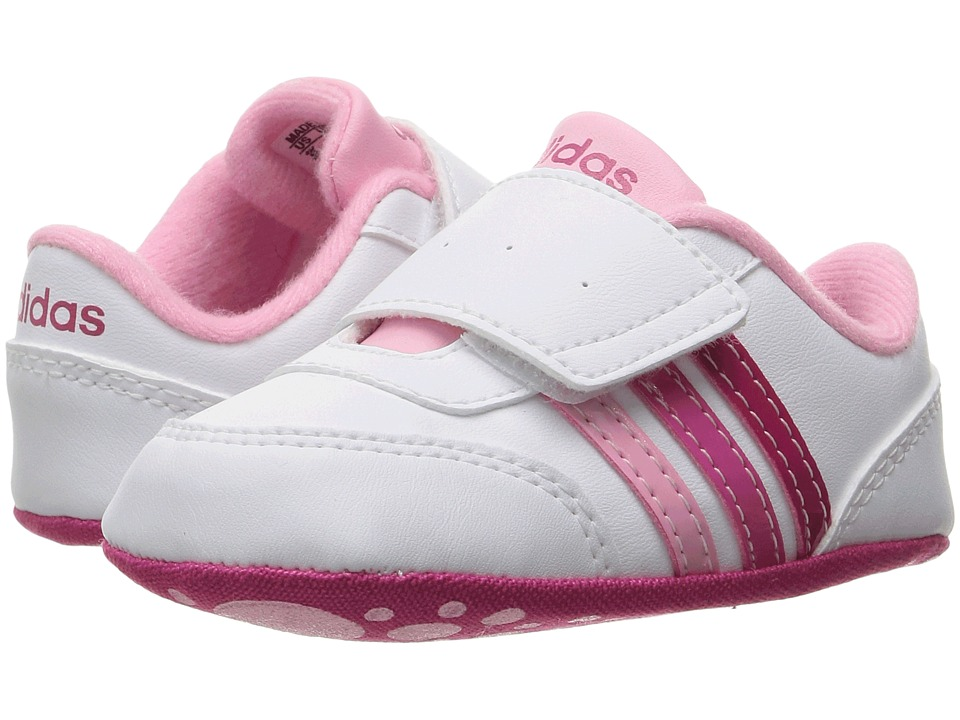 adidas Kids - V Jog Crib (Infant/Toddler) (White/Bold Pink/Pink) Kids Shoes