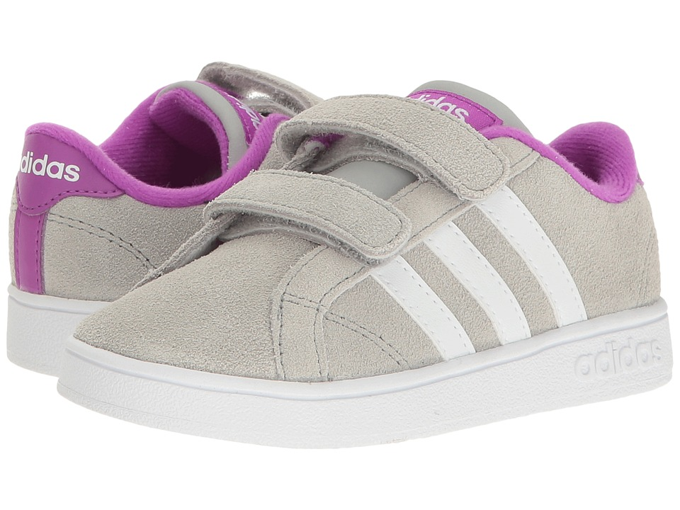 adidas Kids - Baseline CMF (Infant/Toddler) (Clear Onix/White/Shock Purple) Kids Shoes