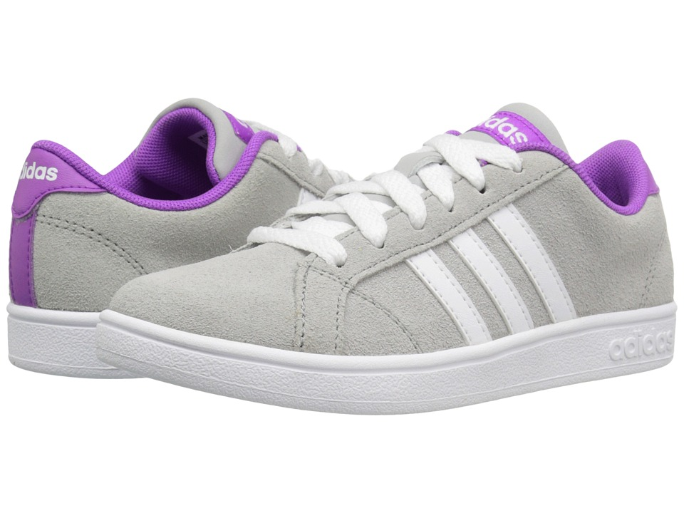 adidas Kids - Baseline (Little Kid/Big Kid) (Clear Onix/White/Shock Purple) Kids Shoes