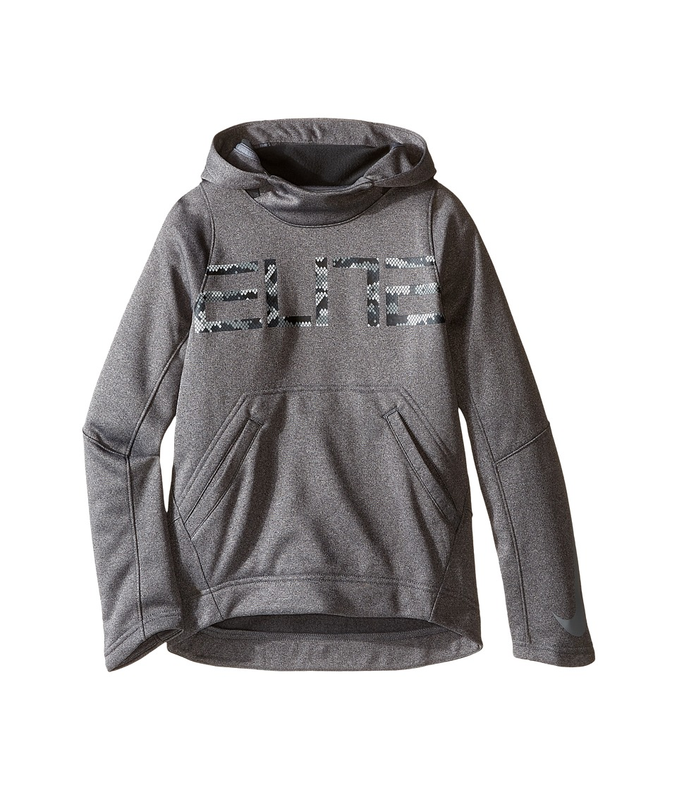 Nike Kids - Elite Pullover Hoodie (Little Kids/Big Kids) (Charcoal Heather/Anthracite/Cool Grey) Boy's Sweater