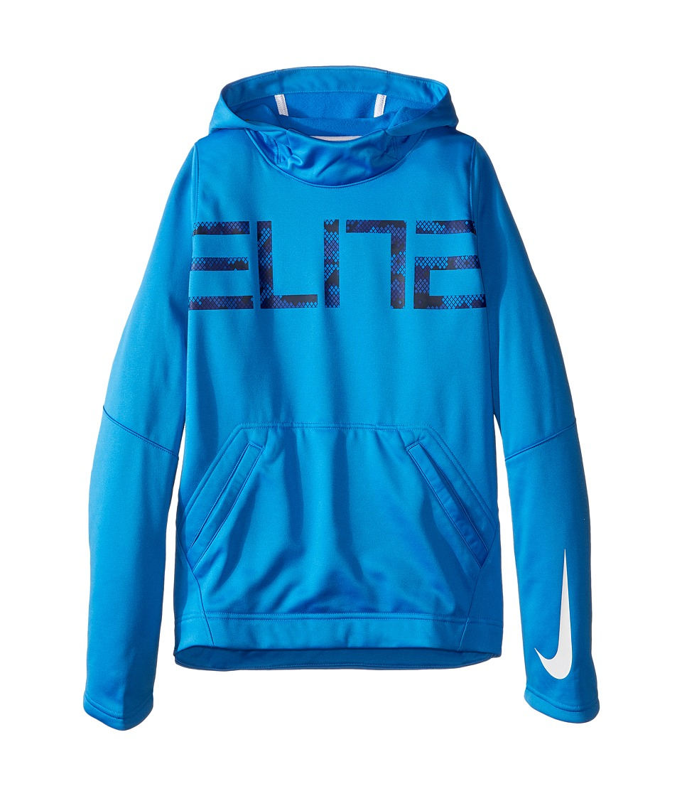 Nike Kids - Elite Pullover Hoodie (Little Kids/Big Kids) (Light Photo Blue/Light Photo Blue/White/White) Boy's Sweater