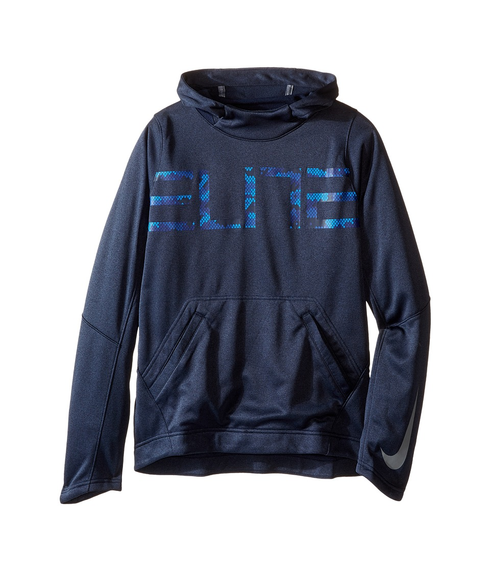 Nike Kids - Elite Pullover Hoodie (Little Kids/Big Kids) (Obsidian Heather/Obsidian/Cool Grey) Boy's Sweater