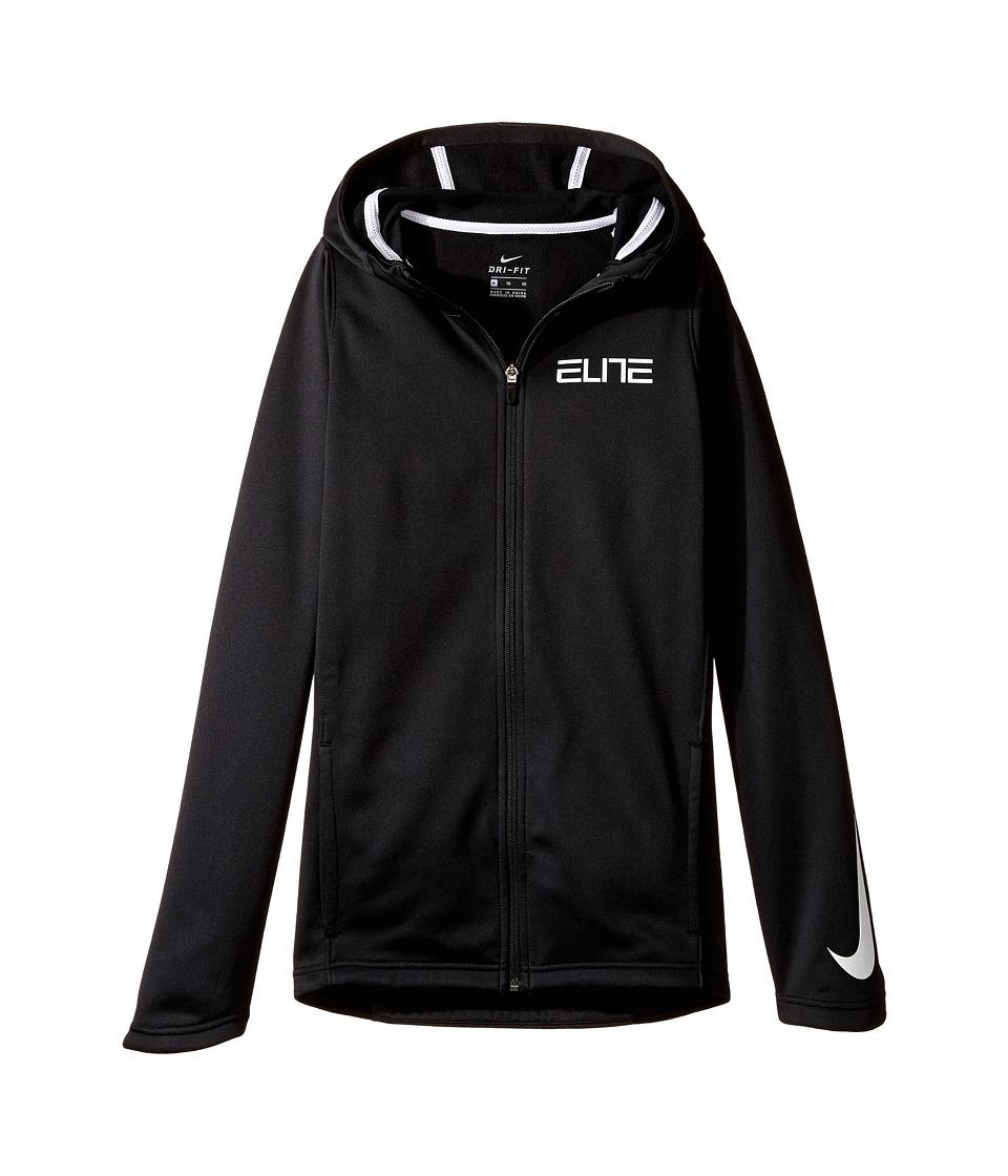 Nike Kids - Therma Elite Basketball Hoodie (Little Kids/Big Kids) (Black/Black/White/White) Boy's Clothing