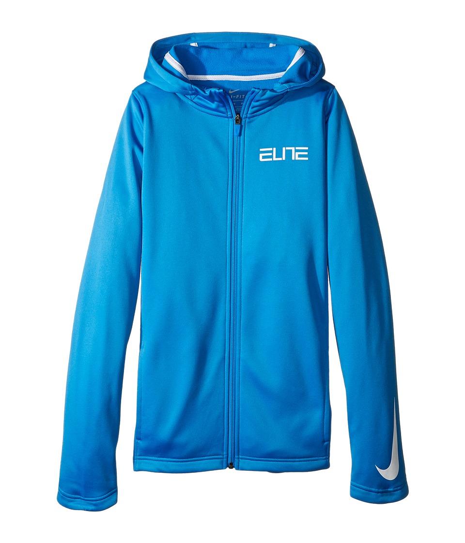Nike Kids - Therma Elite Basketball Hoodie (Little Kids/Big Kids) (Light Photo Blue/Light Photo Blue/White/White) Boy's Clothing