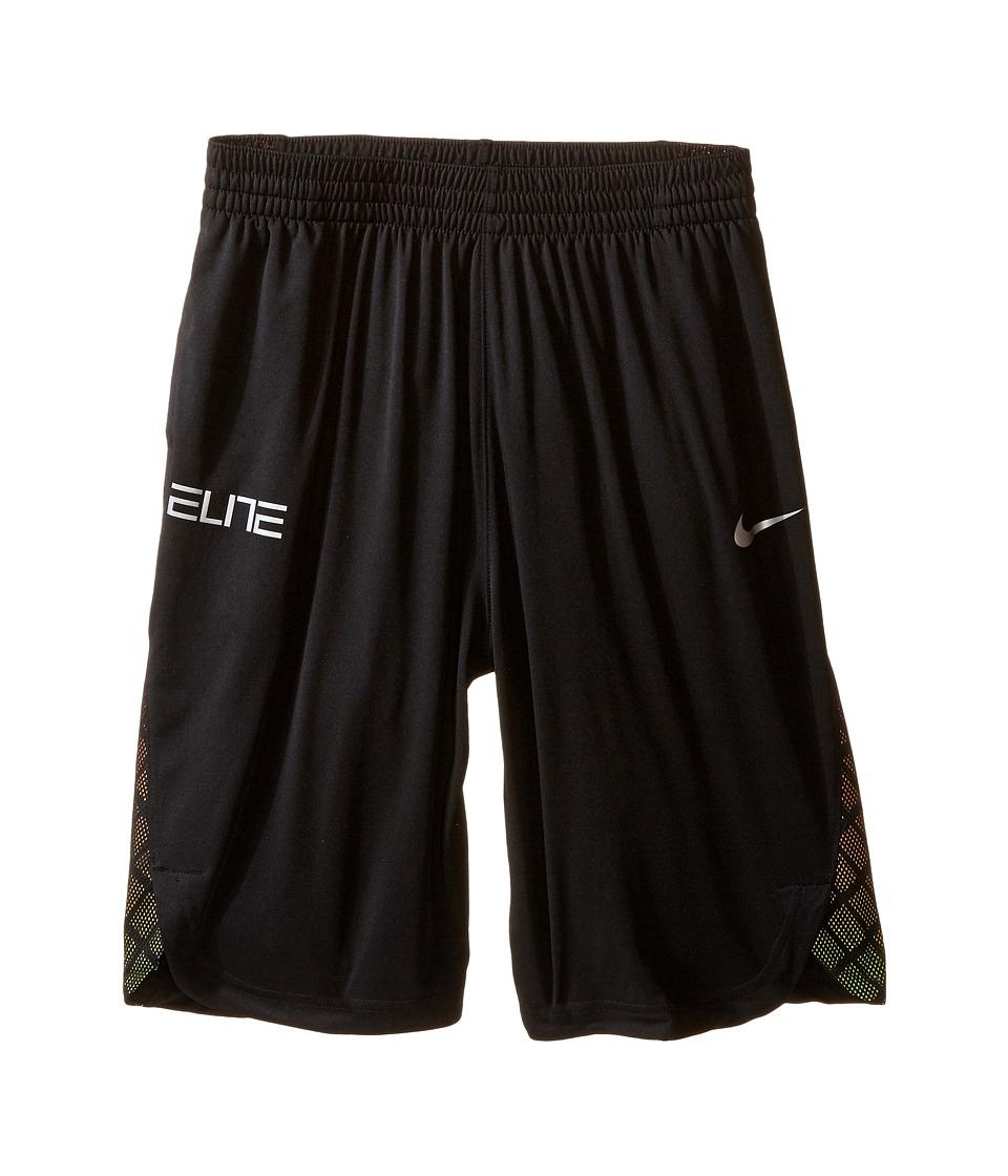 Nike Kids - Elite Basketball Short (Little Kids/Big Kids) (Black/Black/Volt) Boy's Shorts