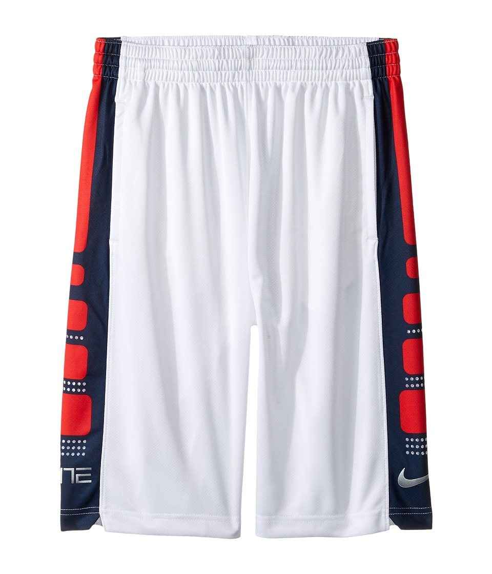 Nike Kids - Elite 8 Basketball Short (Little Kids/Big Kids) (White/Obsidian) Boy's Shorts