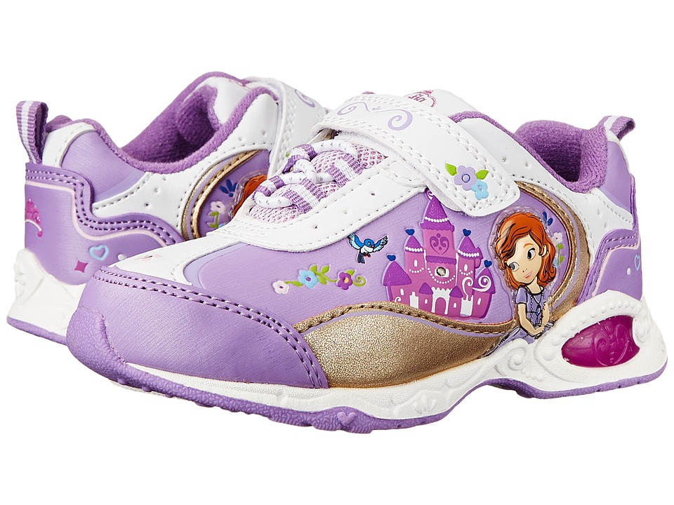 Josmo Kids Sophia Bungee Sneaker (Toddler/Little Kid) (White/Purple) Girls Shoes