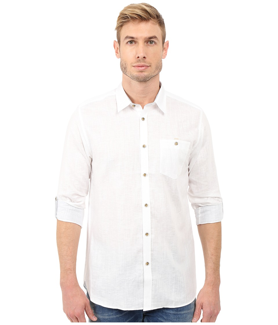 Ted Baker - Linnoo Linen Roll Up Shirt (White) Men's Long Sleeve Button Up