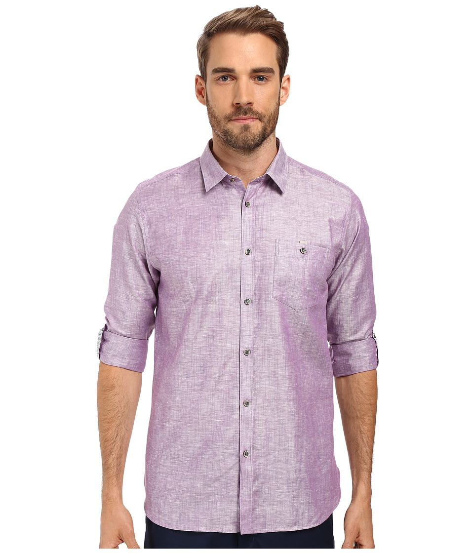 Ted Baker - Linnoo Linen Roll Up Shirt (Mid Purple) Men's Long Sleeve Button Up