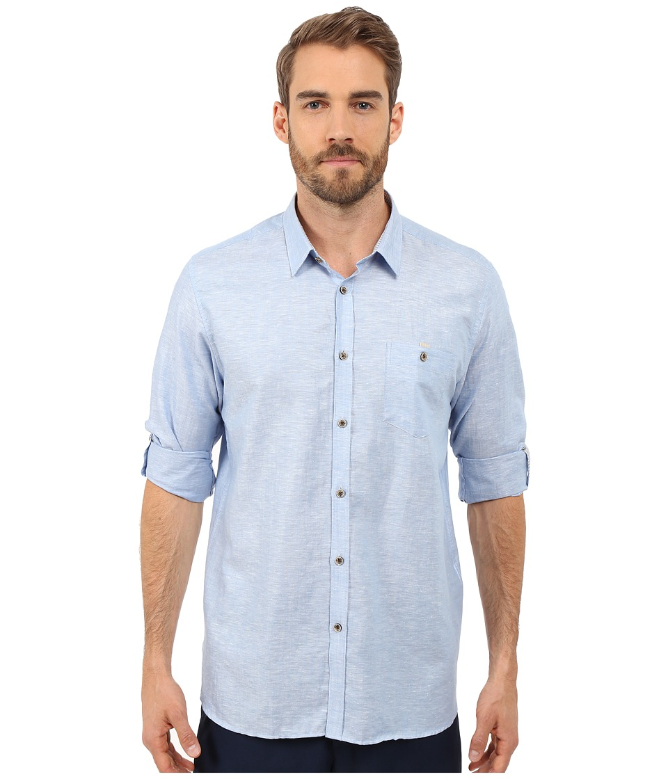 Ted Baker - Linnoo Linen Roll Up Shirt (Blue) Men's Long Sleeve Button Up