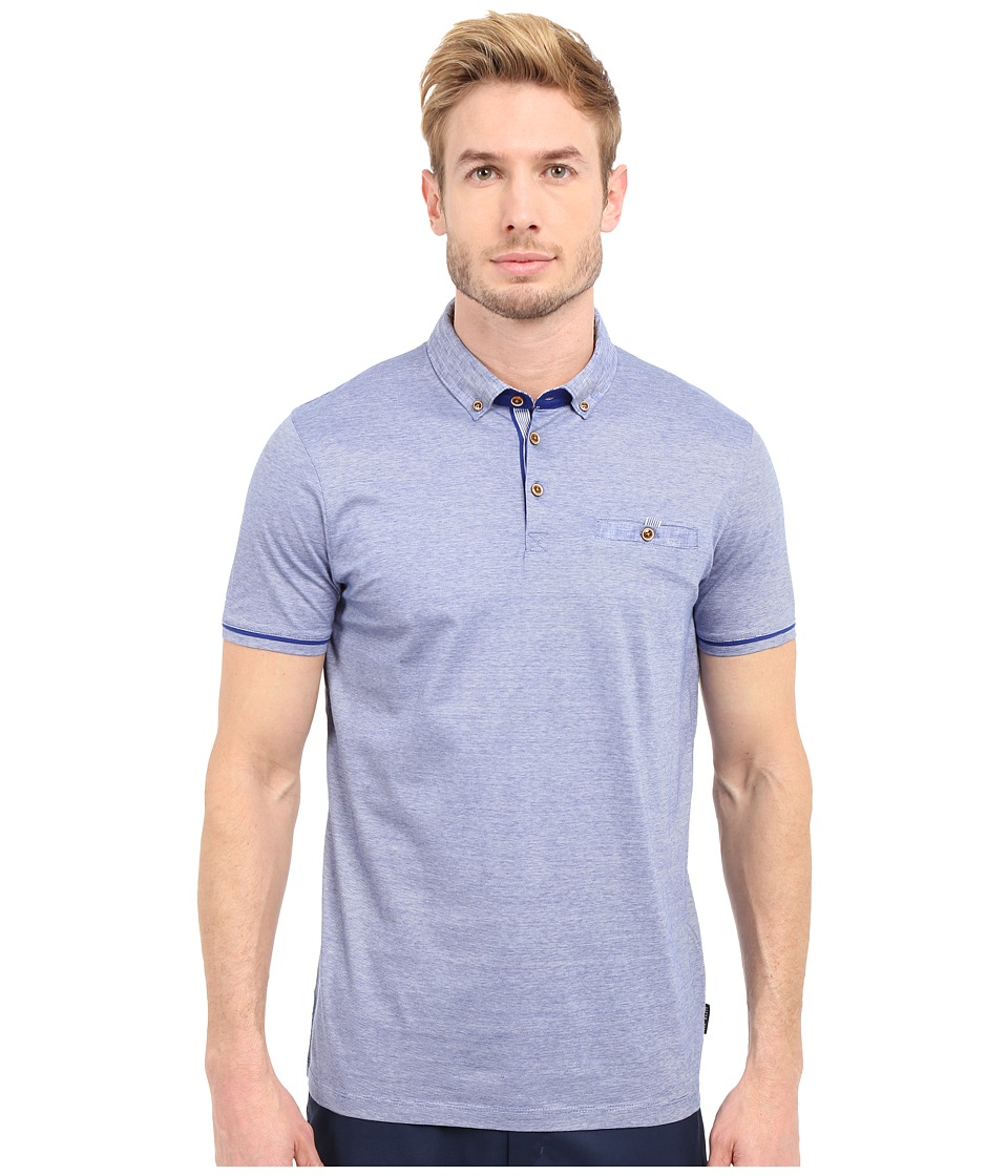 Ted Baker - Trynor Linen Collar Stripe Polo (Blue) Men's Short Sleeve Pullover