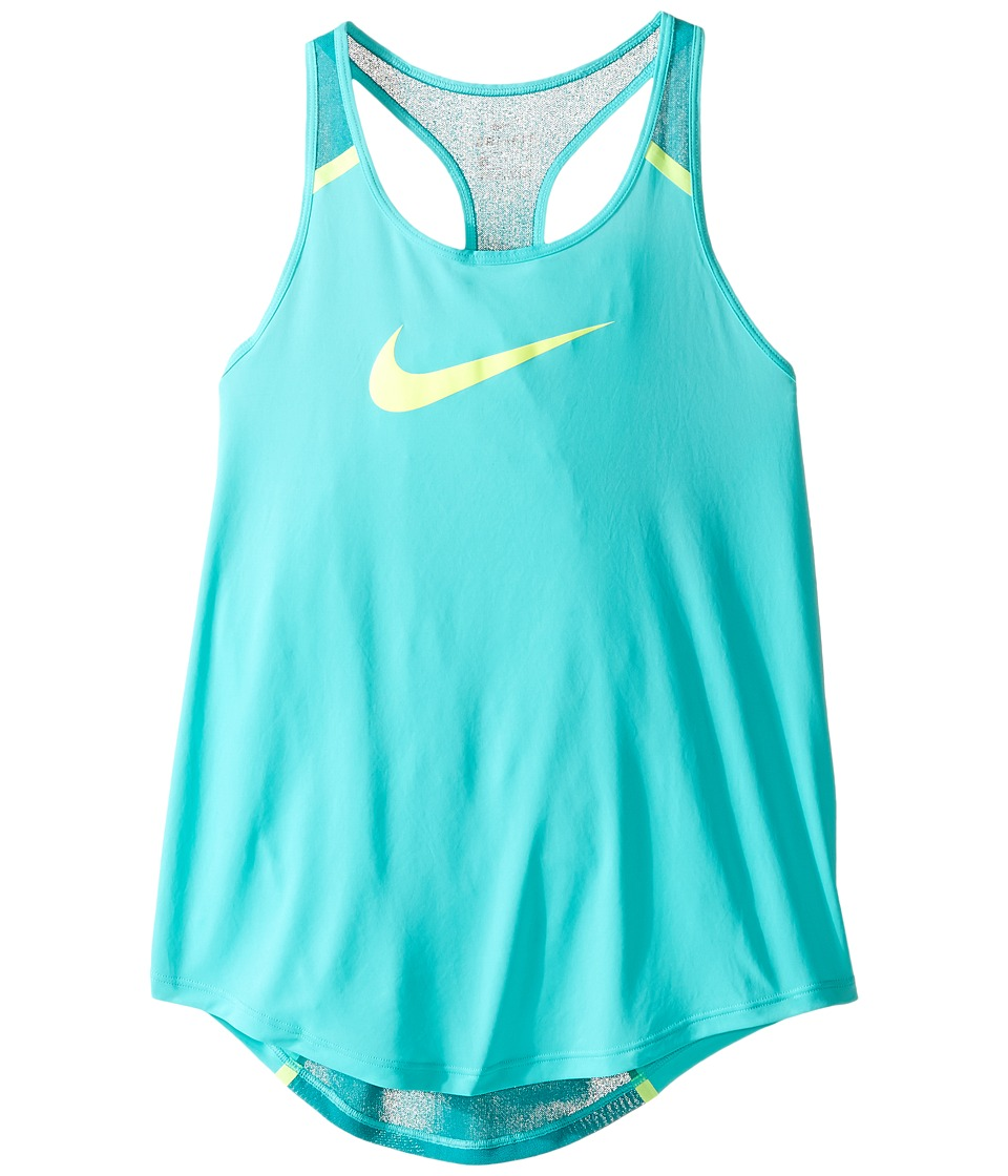 Nike Kids - Flow Training Tank Top (Little Kids/Big Kids) (Hyper Jade/Rio Teal/Volt/Volt) Girl's Sleeveless