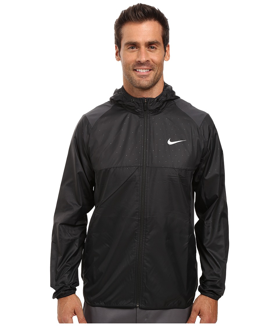 Nike - Printed Packable Hooded Jacket (Black/Reflective Silver) Men's Coat