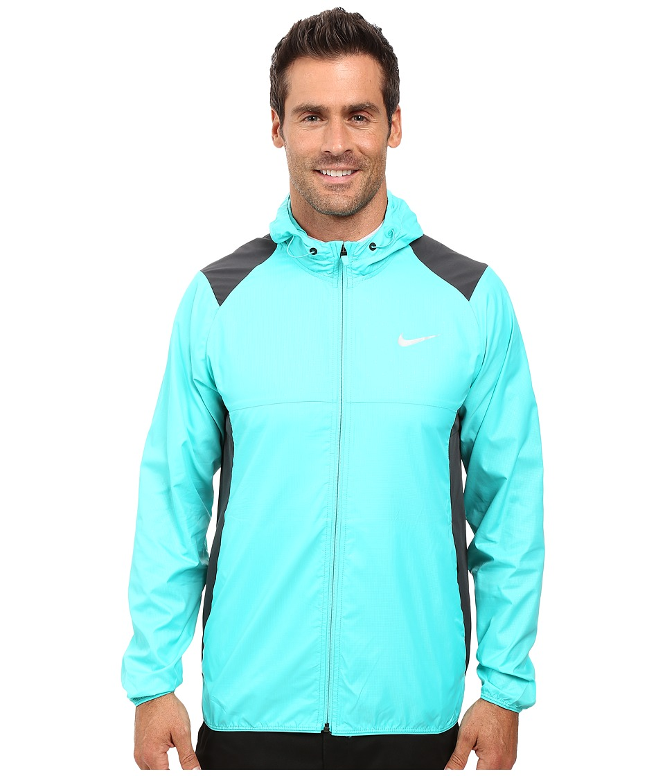 Nike Golf - Printed Packable Hooded Jacket (Hyper Jade/Reflective Silver) Men's Coat