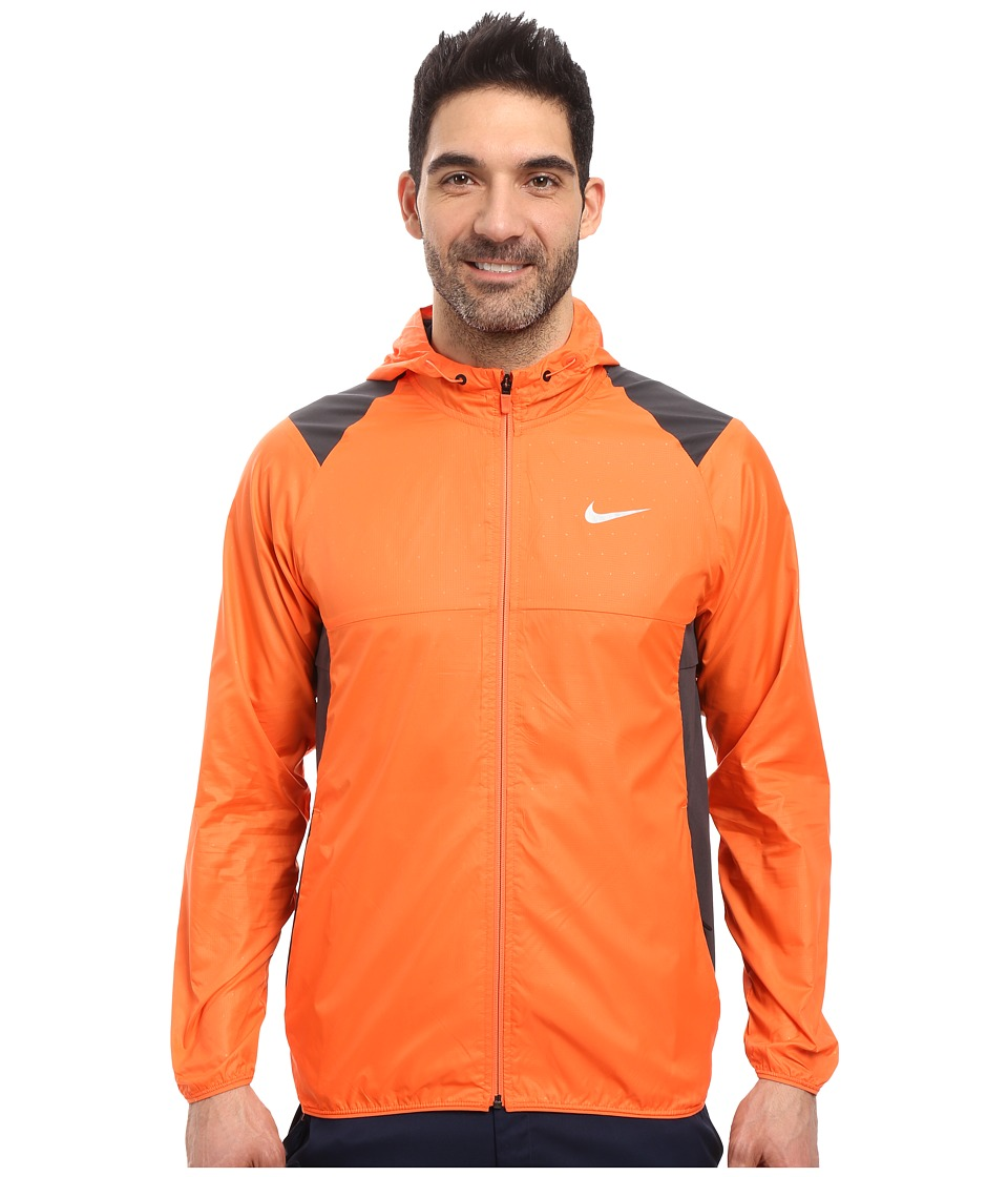 Nike Golf - Printed Packable Hooded Jacket (Turf Orange/Reflective Silver) Men's Coat