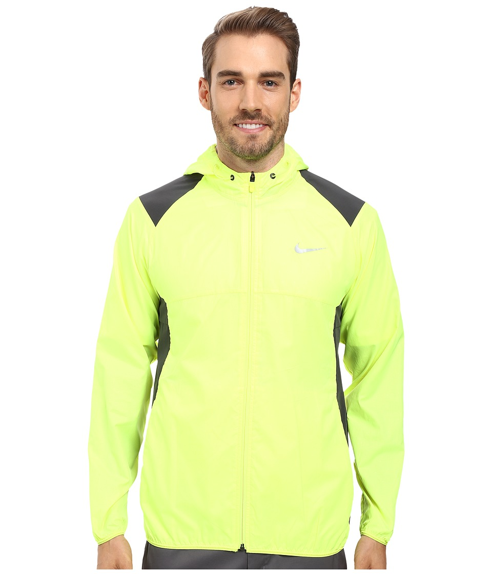 Nike Golf - Printed Packable Hooded Jacket (Volt/Reflective Silver) Men's Coat