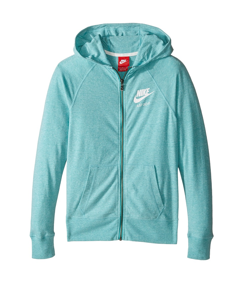 Nike Kids - Gym Vintage Full Zip Hoodie (Little Kids/Big Kids) (Washed Teal/Sail) Girl's Sweatshirt