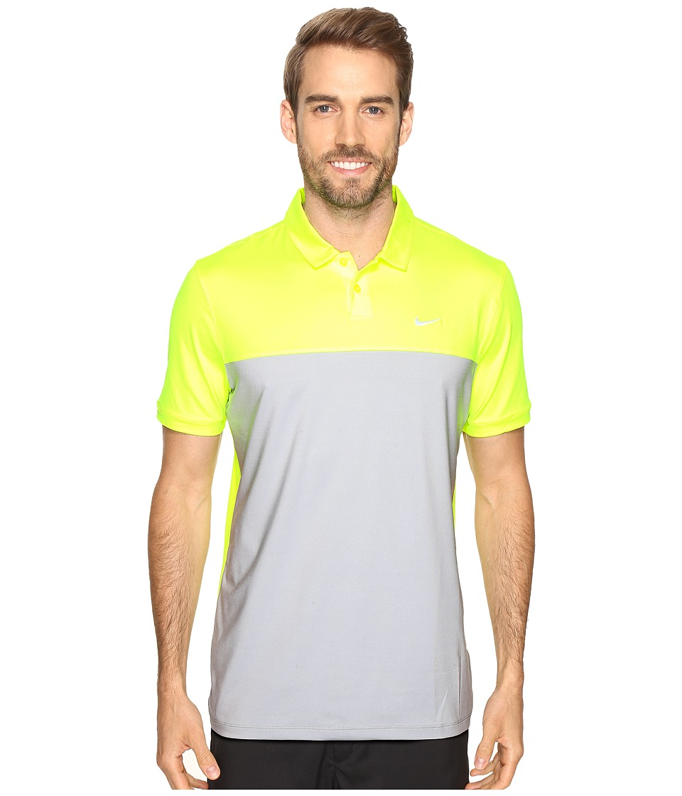 Nike - Icon Color Block Polo (Volt/Wolf Grey/White) Men's Short Sleeve Pullover
