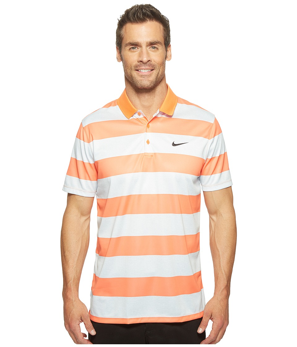 Nike - Victory Bold Stripe Polo (Turf Orange/Wolf Grey/White) Men's Short Sleeve Pullover