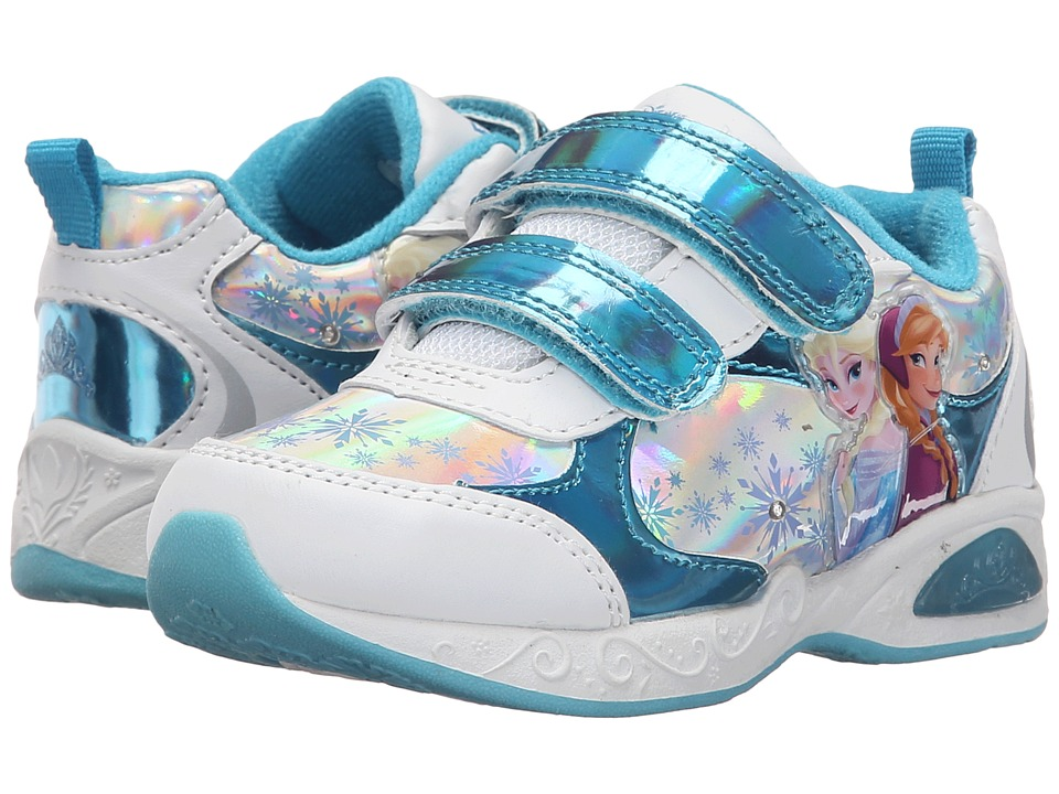 Josmo Kids Frozen Lighted Sneaker (Toddler/Little Kid) (Blue Metallic/White) Girls Shoes