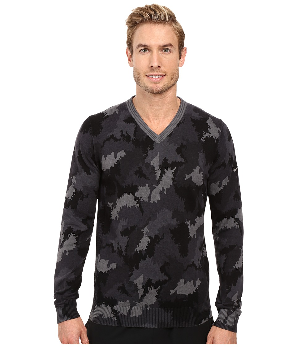 Nike Golf Range Camo V-Neck Sweater (Dark Grey Heather/Dark Grey) Men
